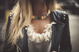 jacket perfecto black blouse jewels gold necklace jewerly leather jacket accessories shirt white feathers elegant