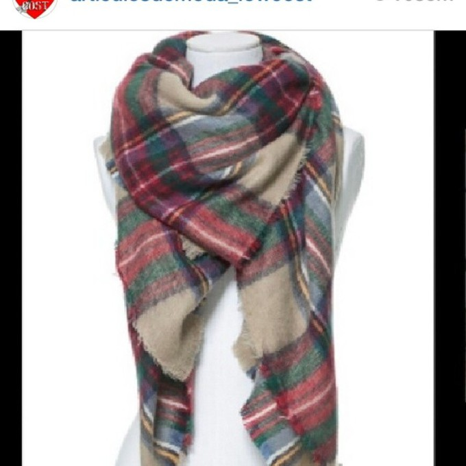 scarf zara green red scarf red