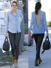 kendall jenner,leggings,ankle boots,boots,fall outfits,sunglasses,denim shirt,leather pants,handbag,backless