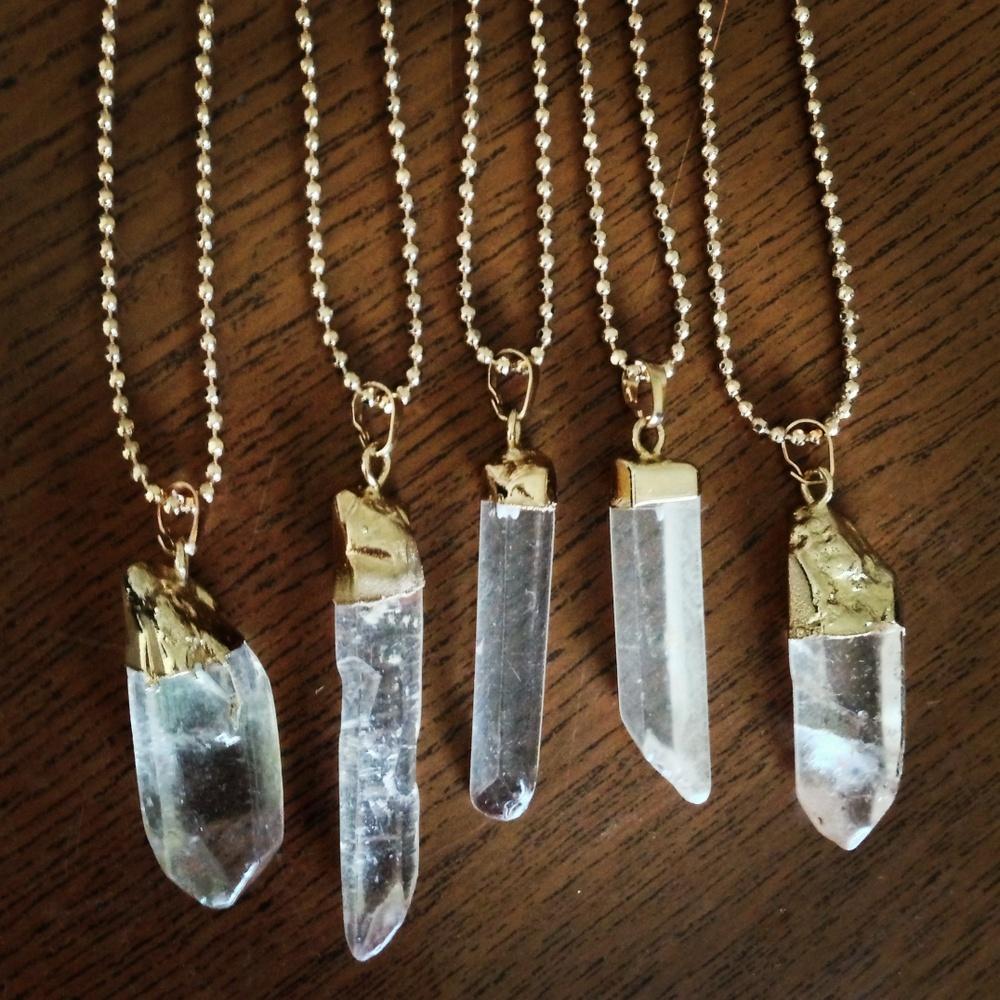 Gold dipped quartz necklace