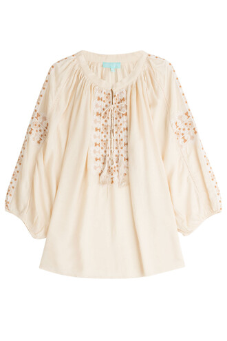 blouse tunic embroidered beige top
