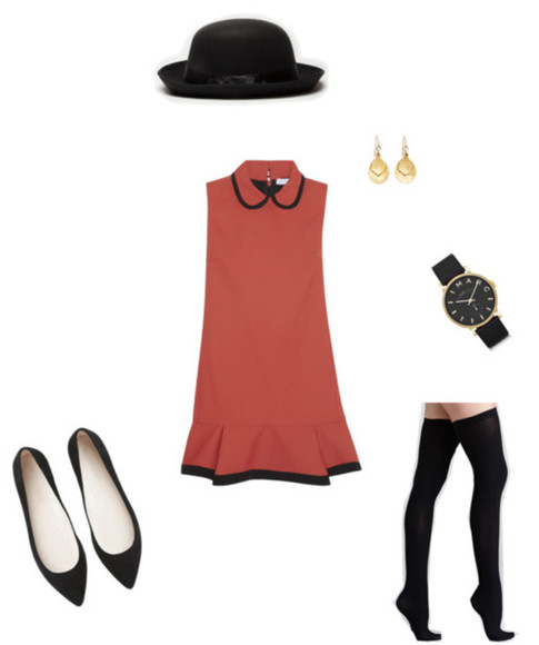 dress orange dress vintage burnt orange black trim gold earrings gold watch black watch tights black black tights black flats burnt orange dress faded orange pants