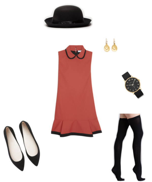 dress vintage burnt orange black trim gold earrings gold watch black watch tights black black tights black flats burnt orange dress orange dress faded orange pants