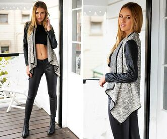 cardigan grey fall outfits leather leather sleeves black streetstyle leather pants zaful black crop top high neck fall colors urban style boots casual style scrapbook stylish fashion vibe fashionista fashion and style
