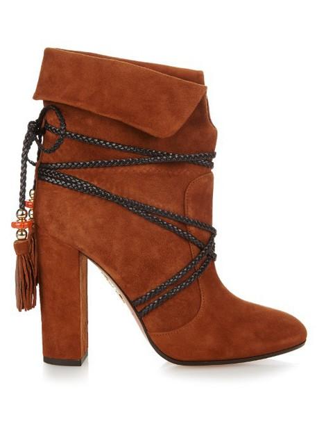 AQUAZZURA X Poppy Delevingne Moonshine ankle boots in tan