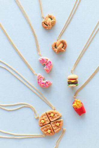 jewels necklace food inspired accessories novelty food donut bretzel hamburger fries etsy