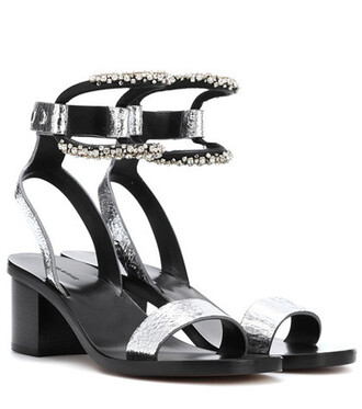 embellished sandals leather sandals leather silver shoes
