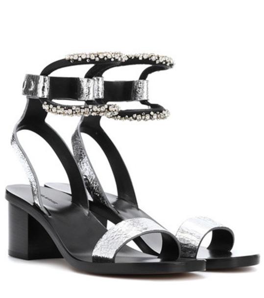 Isabel Marant Jelipa embellished leather sandals in silver