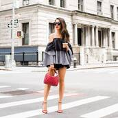 top,tumblr,off the shoulder,off the shoulder top,bag,red bag,sandals,sandal heels,high heel sandals,sunglasses,shorts