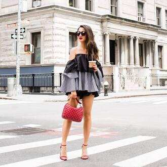 top tumblr off the shoulder off the shoulder top bag red bag sandals sandal heels high heel sandals sunglasses shorts