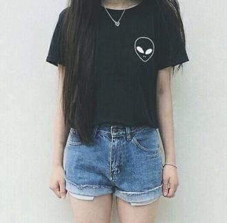 t-shirt shirt black alien hipster jacket grunge