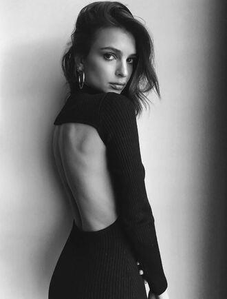 dress black dress emily ratajkowski model instagram