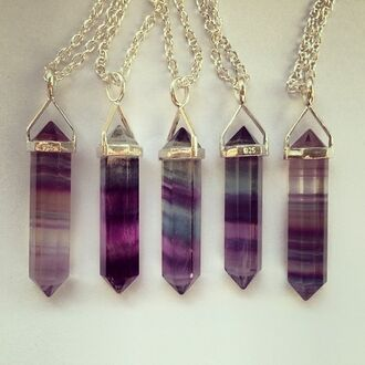 jewels heksagonal necklace stone necklaces plum purple grunge jewelry mystery cristal stone