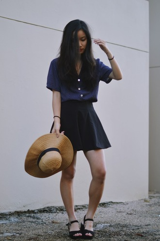 shanni side up blogger black skirt skater skirt sun hat blouse straw hat