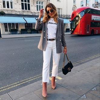 jacket blazer grey blazer plaid blazer cropped jeans pink boots jeans white jeans boots white t-shirt t-shirt