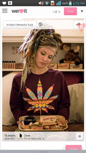 vintage sweater maroon sweater weed jacket weed