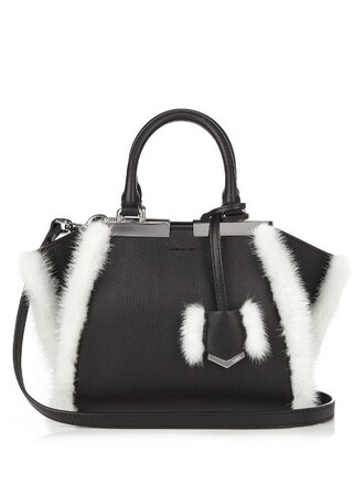 mini leather white black bag
