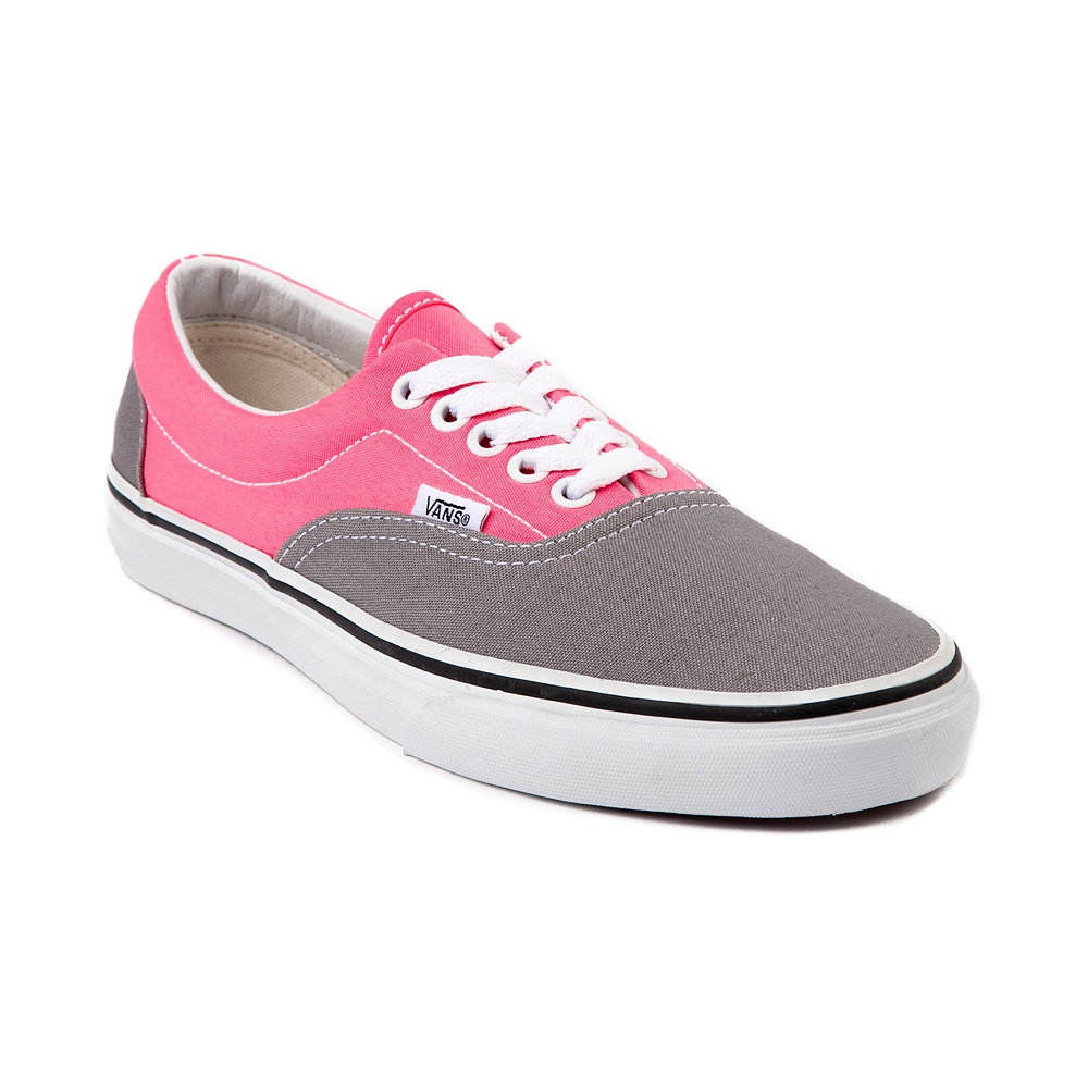 vans era skate shoe gray pink journeys shoes