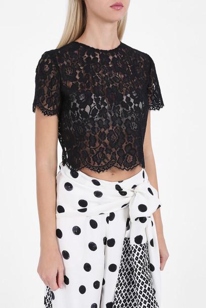 oscar de la renta top bow top bow women lace black