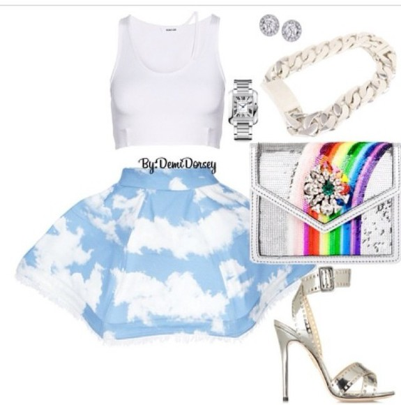 jewels rainbow skirt clouds clouds. bag