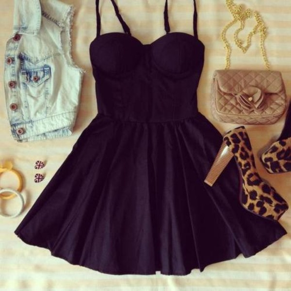 dress black dress black skater dress clothes