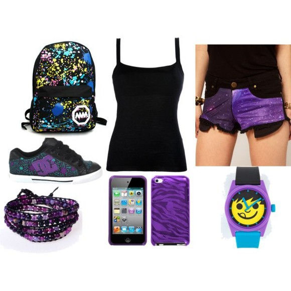 galaxy shorts bag backpack watches