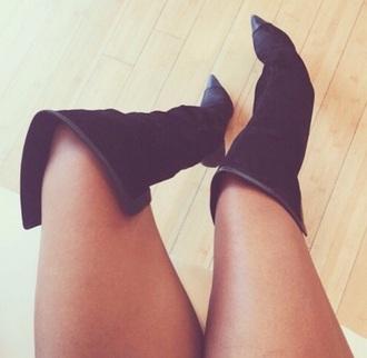 shoes black shoes black suede thigh high boots stilettos
