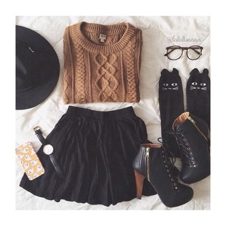 sweater brown mustard skirt shoes jewels hat socks