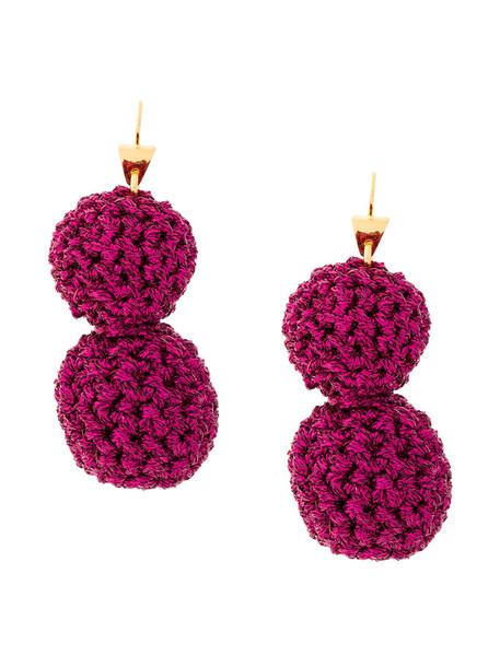 LUCY FOLK rock metal women earrings gold cotton purple pink jewels