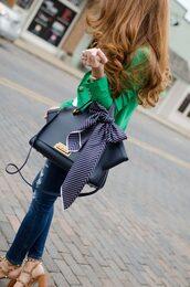 bag,tumblr,black bag,handbag,scarf,denim,jeans,blue jeans,skinny jeans,ripped jeans,green jacket,blazer,sandals,sandal heels,high heel sandals,brown sandals