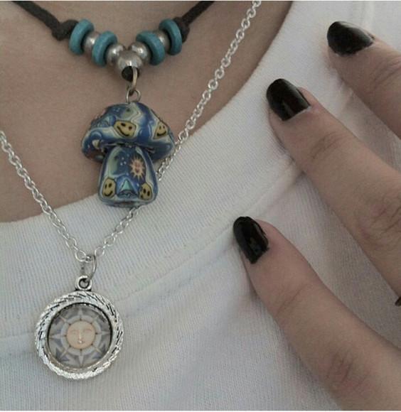 mushroom jewels necklace choker necklace