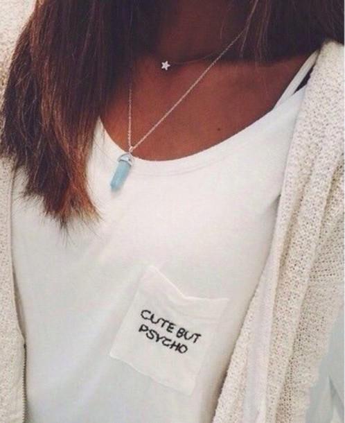 t-shirt cute psycho tumblr weheartit girl white t-shirt pocket t-shirt pocket print