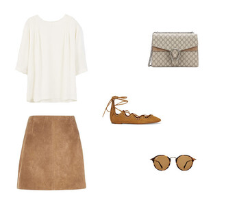 skirt suede suede skirt camel camel skirt cream cream blouse white white top isabel marant gucci gucci bag