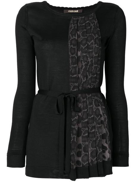 Roberto Cavalli blouse women print black silk wool leopard print top