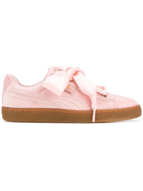 puma heart women sneakers leather purple pink satin shoes