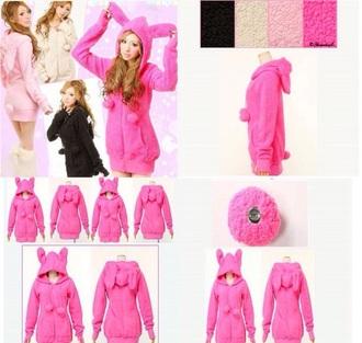 top hoodie cute top kawaii hoodie kawaii bunny