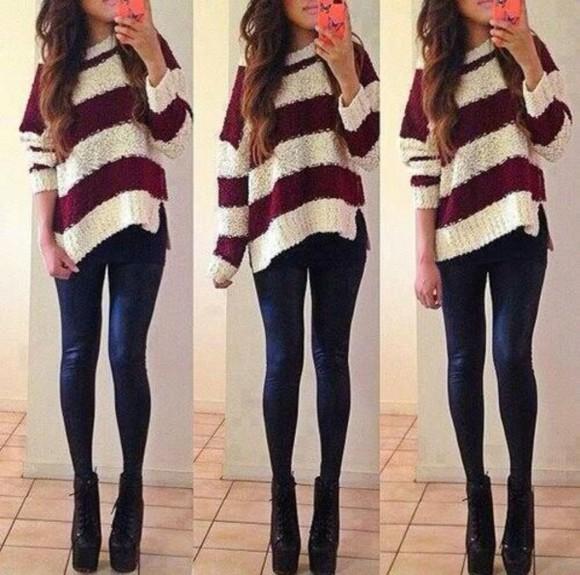 stripes burgundy sweater white sweater