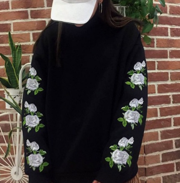 jacket embroidered girly black oversized sweater oversized floral flowers tumblr jumper