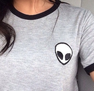 shirt style fashion grunge girly tumblr outfit top tee summer fall outfits spring crop tops alien t-shirt grunge t-shirt aliens grunge grey alien shirt alien shirt