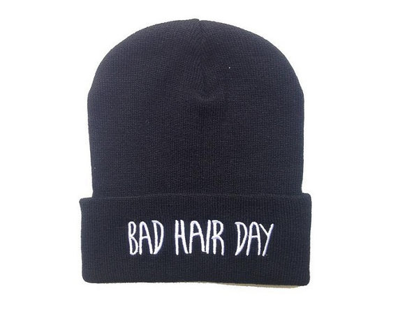 Bad hair day beanie, free size adult unisex winter beanie,hip hop beanie