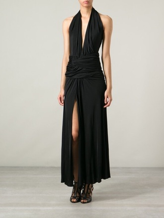 dress black halter dress tie up deep v neck dress deep plunge neckline