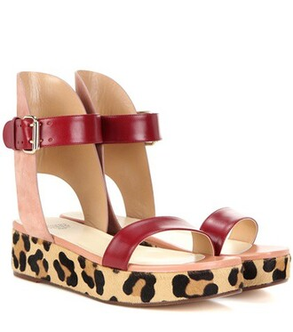 hair sandals leather suede red shoes