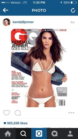swimwear bikini white gq kendall jenner white bikini editorial