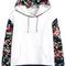 White hooded contrast floral loose sweatshirt - sheinside.com