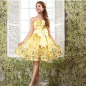 dress,yellow,yellow and gold,gold,shiny,pretty,cute,prom,short,short dress,prom dress,bow,bow dress,lovely,belle,yellow dress,homecoming dress