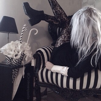 home accessory kawaii kawaii dark kawaii grunge goth black white black and white stripes chair umbrella grunge osft grunge pale grunge pale cute pretty monochrome greyscale