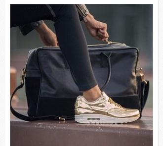 gold air max nike shoes shorts bag leggings jacket black