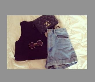 shorts top crop tops denim shorts high waisted summer blue black black top black crop top vintage tumblr grunge chanelle highwaisted denim shorts