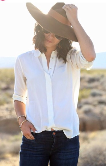 blouse top spring button down button up flowy white