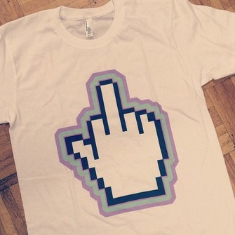 t-shirt middle finger shirt loose fit loose t-shirt white t-shirt pixel the middle